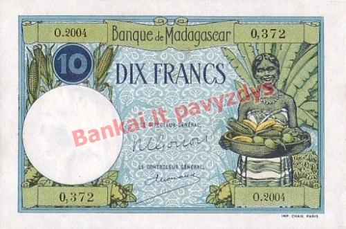 10 Frankų banknoto priekinė pusė