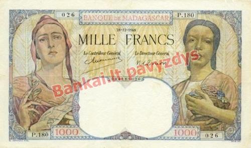 1000 Frankų banknoto priekinė pusė