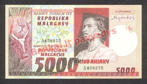 5000 Frankų banknoto priekinė pusė