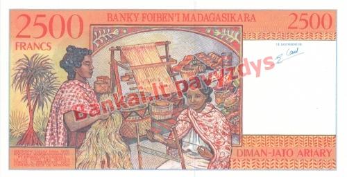 2500 Frankų banknoto galinė pusė