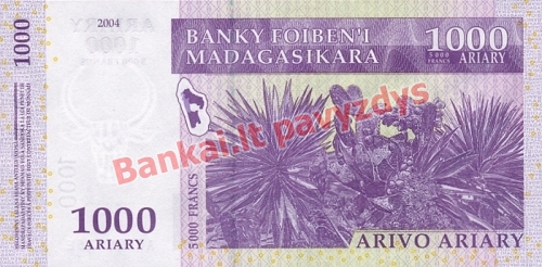 1000 Arairių banknoto galinė pusė