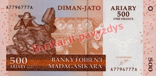 500 Arairių banknoto priekinė pusė