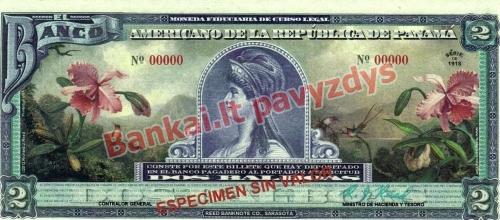 2 Balboa banknoto priekinė pusė