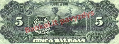 5 Balboa banknoto galinė pusė