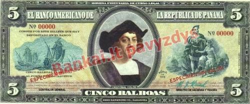 5 Balboa banknoto priekinė pusė