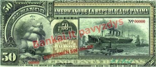 50 Balboa banknoto priekinė pusė