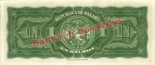 1 Balboa banknoto galinė pusė