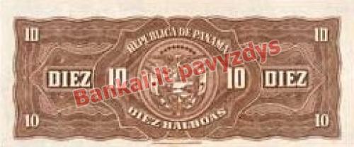 10 Balboa banknoto galinė pusė