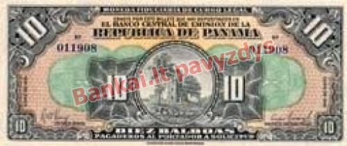 10 Balboa banknoto priekinė pusė