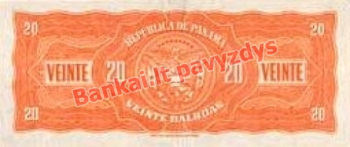 20 Balboa banknoto galinė pusė