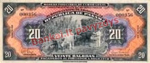 20 Balboa banknoto priekinė pusė