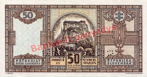 50 Korun  banknoto galinė pusė