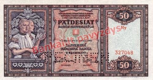 50 Korun  banknoto priekinė pusė