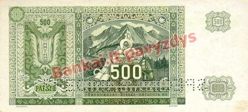 500 Korun  banknoto galinė pusė