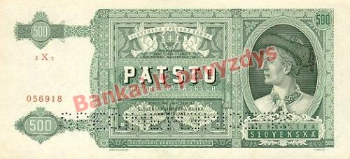 500 Korun  banknoto priekinė pusė
