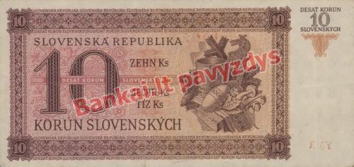 10 Korunų banknoto galinė pusė