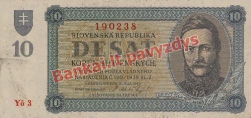 10 Korunų banknoto priekinė pusė