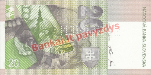 20 Korunų banknoto galinė pusė