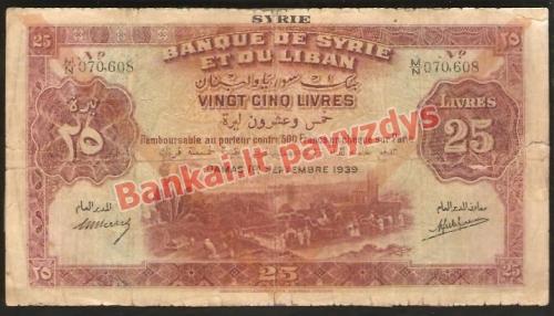 25 Liverių banknoto priekinė pusė