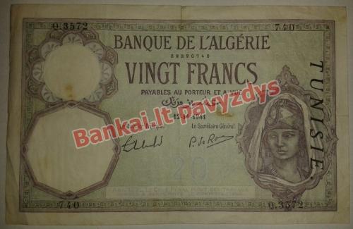20 Frankų banknoto priekinė pusė
