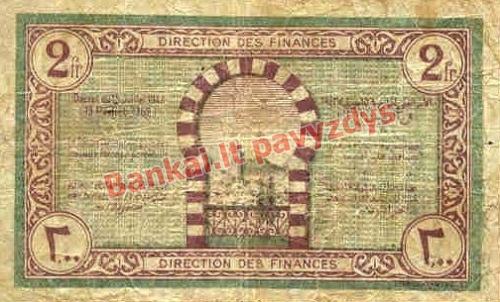 2 Frankų banknoto galinė pusė