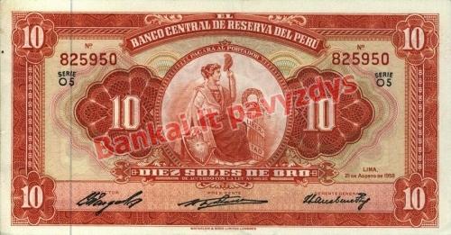 10 Soles  banknoto priekinė pusė