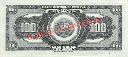 100 Soles  banknoto galinė pusė