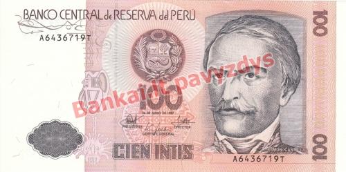 100 Intis  banknoto priekinė pusė