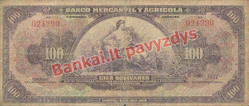 100 Bolivarų banknoto priekinė pusė