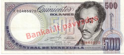500 Bolivarų banknoto priekinė pusė