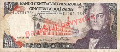 50 Bolivarų banknoto priekinė pusė