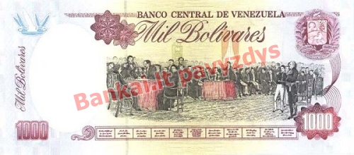 1000 Bolivarų banknoto galinė pusė