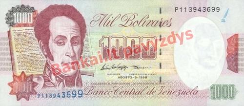 1000 Bolivarų banknoto priekinė pusė