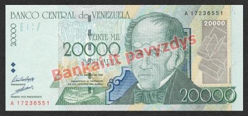 20000 Bolivarų banknoto priekinė pusė