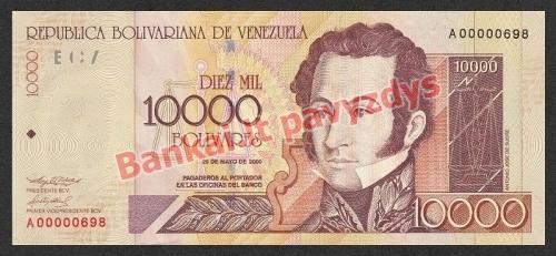 10000 Bolivarų banknoto priekinė pusė
