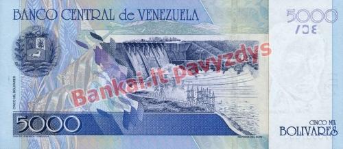 5000 Bolivarų banknoto galinė pusė