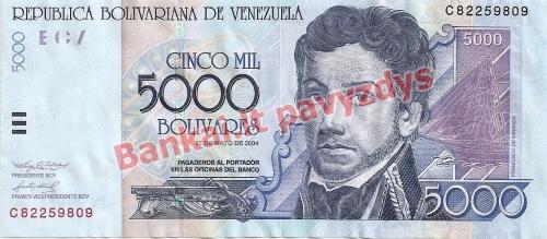 5000 Bolivarų banknoto priekinė pusė