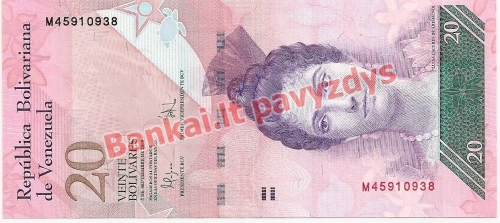 20 Bolivarų banknoto priekinė pusė