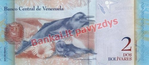 2 Bolivarų banknoto galinė pusė