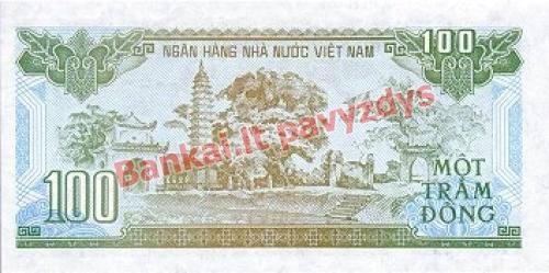 100 Dongų banknoto galinė pusė