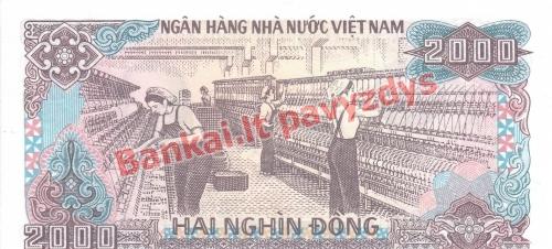 2000 Dongų banknoto galinė pusė