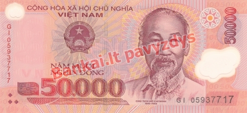 50000 Dongų banknoto priekinė pusė