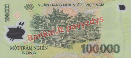 100000 Dongų banknoto galinė pusė