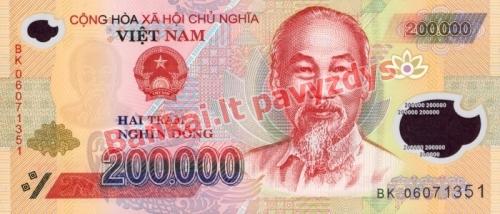 200000 Dongų banknoto priekinė pusė