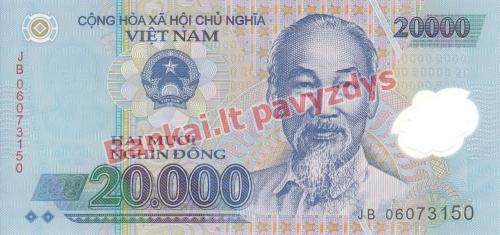 20000 Dongų banknoto priekinė pusė