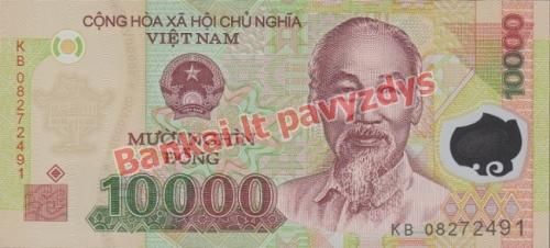 10000 Dongų banknoto priekinė pusė