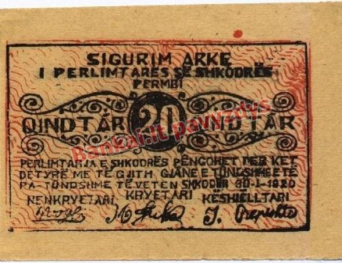 20 Kindtarų banknoto priekinė pusė