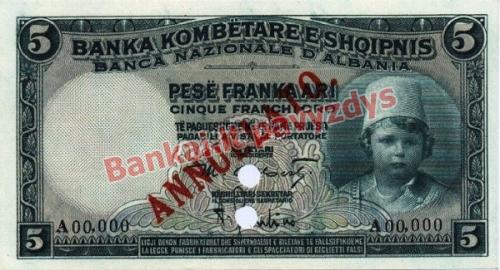 5 Frankų banknoto priekinė pusė