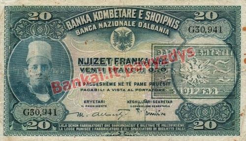 20 Franka  banknoto priekinė pusė