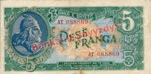 5 Franka  banknoto priekinė pusė